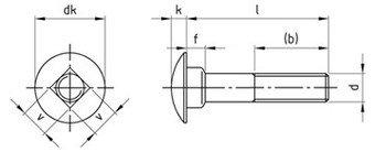 DIN 603 A2 M 10X120 mm Flachrundschrauben mit Vierkantansatz Paket /â 50 St/ück