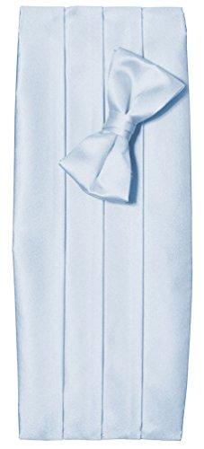 Toddler Boys Light Blue Satin Tuxedo Cummerbund and Bow Tie Set (Toddler Blue Tuxedo)