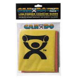 (FEI 10-5280 Can-Do Low Powder Exercise Band, Pep Pack, Easy, 4' Length, Yellow, Red and Green)