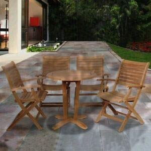 JumpingLight International Home Aruba 5 Piece Wood Patio Dining Set in Teak Durable and Ideal for Patio and Backyard ()