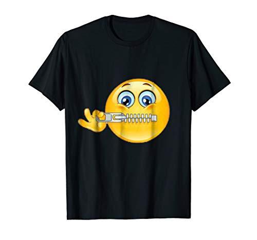 Official:Zipper-Mouth Face Emoji Costume T-Shirt- halloween ()