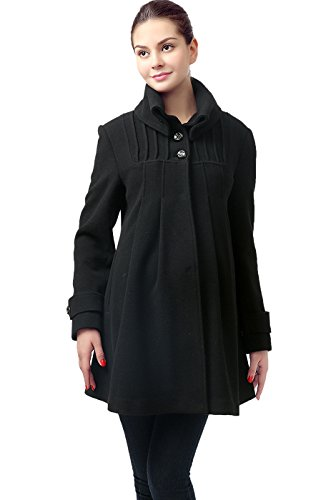 Momo Maternity Women's Wool Blend Pleated Swing Coat - Black (Blend Swing Coat)