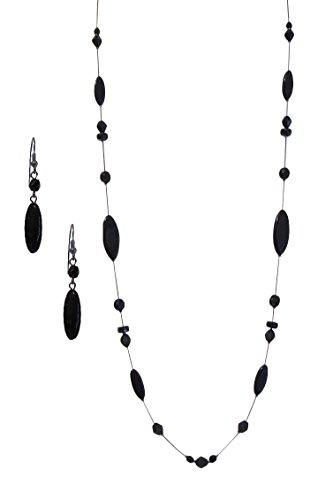 LaRaso & Co Black Crystal Jewelry Set for Women Long Necklace Matching Dangle Earrings