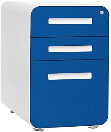 Stockpile 3-Drawer Mobile File Cabinet, Commercial-Grade, Pre-Assembled Blue Faceplate