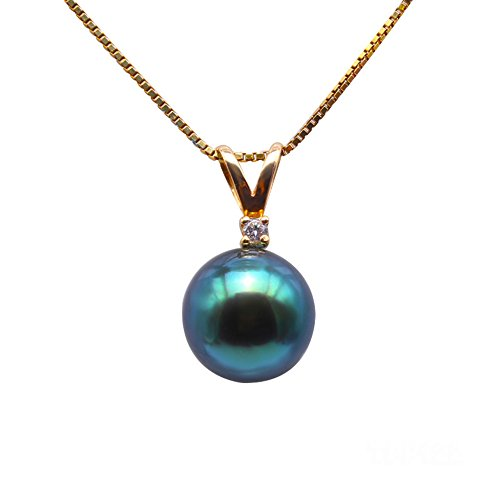 JYX 14K Yellow Gold Pendant AAA Quality 9.5mm Peacock Green Round Tahitian Cultured Pearl Pendant Necklace for Women ()