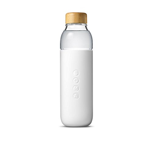 Soma Glass Water Bottle – Eco-Friendly Alternative to Bottled Water – BPA Free 17oz – Stay Hydrated – Wide Mouth – Shatter-Resistant Borosilicate Glass (White)