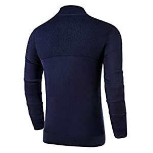 NITAGUT Mens Slim Fit Zip Up Mock Neck Polo Sweater Casual Long Sleeve Sweater and Pullover Sweaters with Ribbing Edge