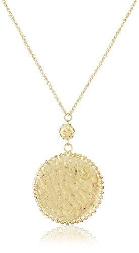 14k Gold Circle Pendant - 14k Yellow Gold Hammered Circle Necklace, 17