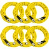 SEISMIC AUDIO - SAXLX-50 - 6 Pack of 50' Yellow XLR Male to XLR Female Microphone Cables - Balanced - 50 Foot Patch Cords