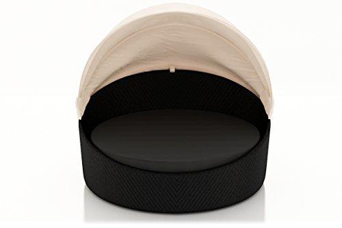 Harmonia Living Wink Wicker Outdoor Round Daybed with Gray Sunbrella Cushion (SKU HL-WINK-CB-DB-CC)