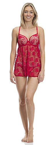 Fancy Jessica Simpson (740448JS) Jessica Simpson Womens Paisley Lace Babydoll Set With Contrast Bra Cup In Red Size: Medium