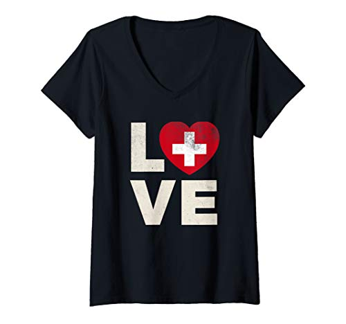 - Womens Switzerland Flag Shirt Love Swiss Pride Heart Gift V-Neck T-Shirt