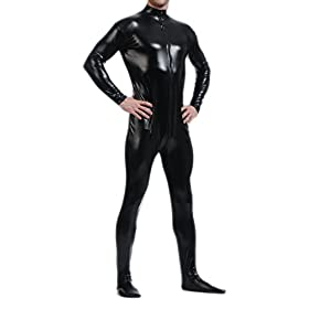 - 314mM1RpurL - Seeksmile Unisex Metallic Lycra Bodysuit Zentai without Hood