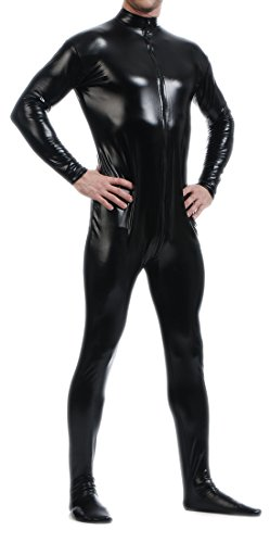 Seeksmile Unisex Metallic Lycra Bodysuit Zentai without Hood (Large, Black)