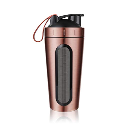 Protein Shaker Bottle, Homiguar Stainless Steel Loop Top Shaker Cup, Visible Window, Leak Proof, 28-Ounce - RoseGold