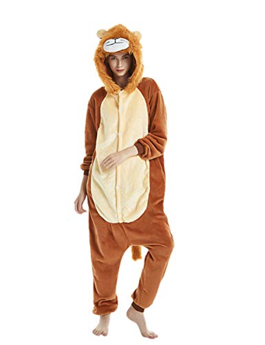 One Piece Pajamas Animal Costume- Halloween Cosplay Sleepware Cartoon Winter Adult Unisex Medium (155-165cm), Lion