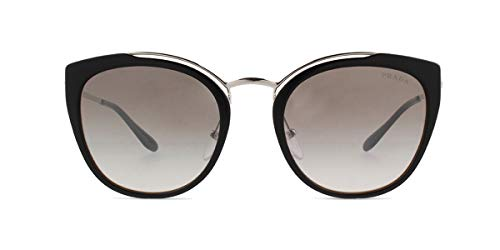 Prada Women's 0PR 20US Black/Ivory/Dark Grey Mirror/Silver One - Prada Silver Sunglasses