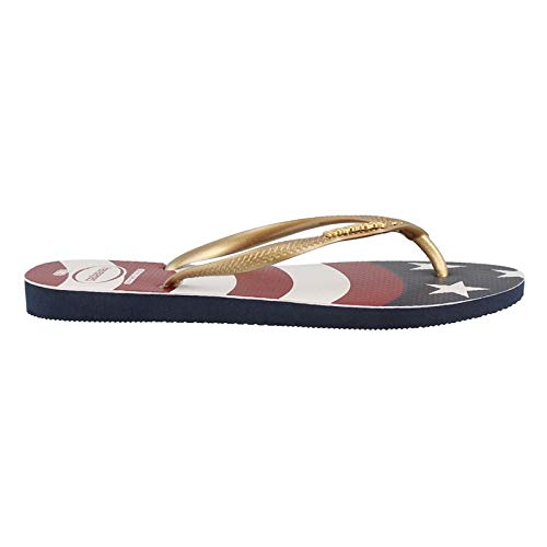 Havaianas Women's Slim Wavy USA Flag Sandal Navy Blue Flag 35-36 BR / 5-6 B(M) US Women / 4-5 D(M) US Men