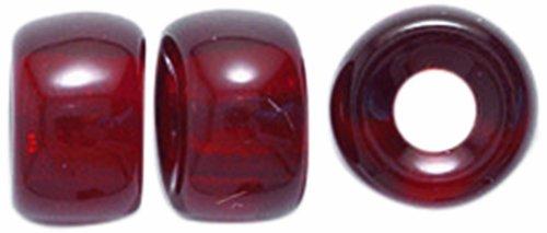 Preciosa Ornela Traditional Czech Glass Crow Roller 60-Piece Beads, 9mm, Transparent Garnet (Roller Crow)