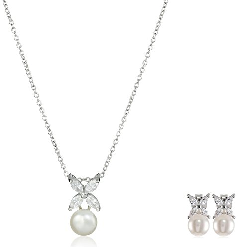 Platinum-Plated Sterling Silver, Freshwater Cultured Pearl and Cubic Zirconia Jewelry Set