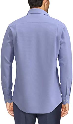 Buttoned Down Men's Tailored Fit Spread-Collar Solid Non-Iron Dress Shirt (No Pocket), Blue, 18
