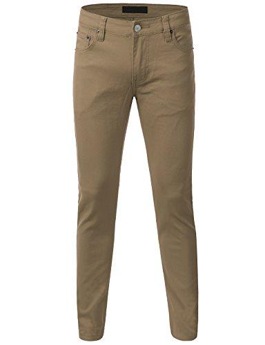 iDarbi Mens Basic Causual Colored Skinny Denim Cotton Pants KHAKI 36/30