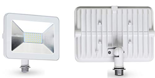ASD 30W LED Flood Light with Arm Mount 3000K (Warm White) Slim SMD 3087lm Waterproof Outdoor Landscape, White, ETL Listed & DLC Certified (Flood 30w Light Led White)