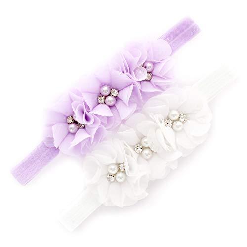 (My Lello Baby Flower Headbands Fabric Beaded Trio Stretchy Elastic Pair (Lavender/White))
