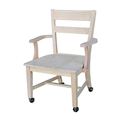 (International Concepts C-226 Dining Chair with Casters, Unfinished)