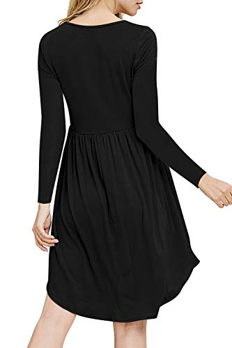 Black Swin Long Dress Sleeve neveraway Leisure Buckle Mid Relaxed Drape Women's Fit EZqExPHw