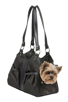 Petote Metro Couture Dog Bag Carrier w/ Black Leather Trim & Tassel (Petite, Sable)