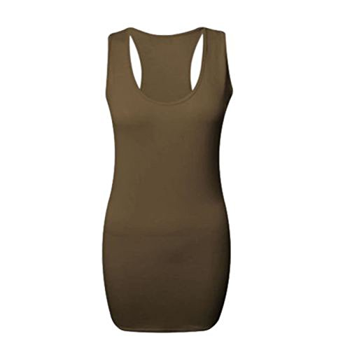 Langes Damen-Kleid, Racerback, ärmellos, Muskelshirt Maxi Gym Top Mokka