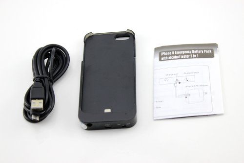 Iphone 5 5s power bank breathalyzer 1800 mah batteria esterna coperchio cover case pack nero paraurti adatta iOS 7