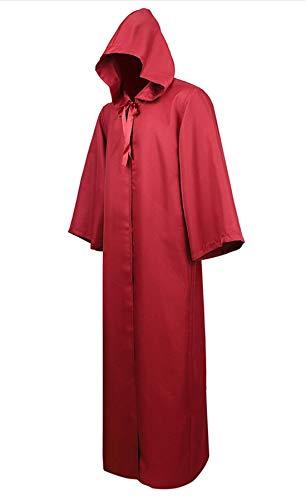 Zhitunemi Mens Black Cloak Hooded Robe Adult Unisex Cloak Knight Halloween Masquerade Cosplay Costume Cape Wine Red XL