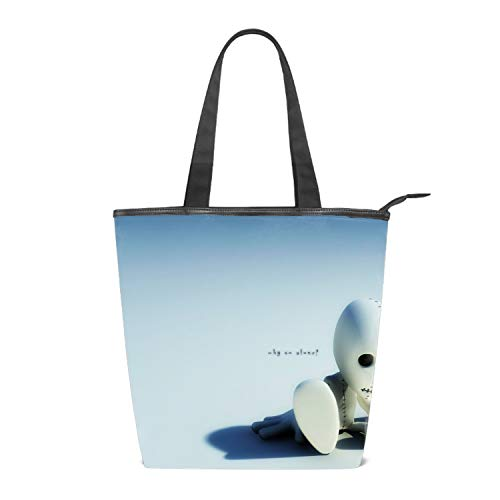 Women Canvas Shoulder Bag, Dark Emo Zombie Tote Handbag Mini Single Crossbody Messenger Bag Long Strap Shopping Bag Pouch
