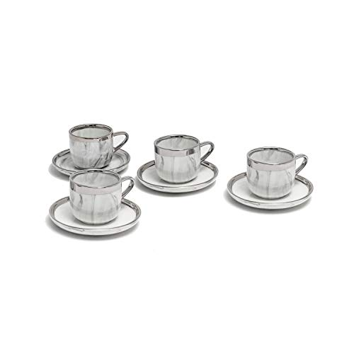 Yedi YCC745, 3 Oz Porcelain Espresso Cups & Saucers w/Marble Pattern and Platinum Rim, Ceramic Coffee Cups with Saucers, Set of 4