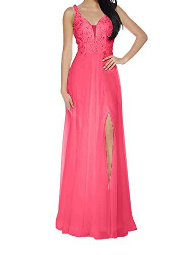 A Damen Promkleider Partykleider Spitze Langes Ballkleider Wassermelon Charmant Jungendweihe Kleider Linie Abendkleider gdxqBZzwR