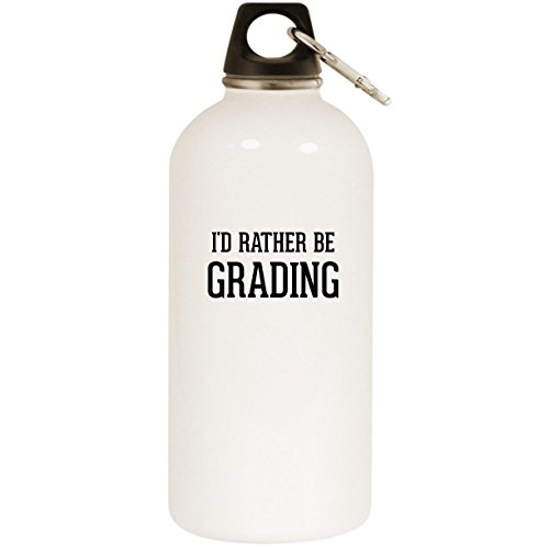 I'd Rather Be GRADING - White 20oz Stainless Steel Water Bottle with Carabiner by Molandra Products