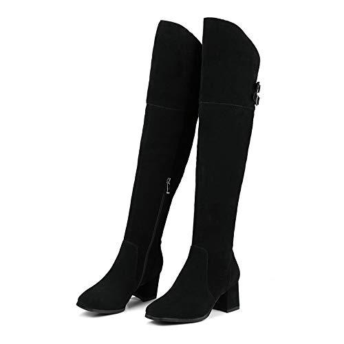 HAOLIEQUAN Frauen Über Stiefel Wildleder Square High Heel Quadratische Spitze Reißverschluss Fashionwestrn Stil Größe 34-39