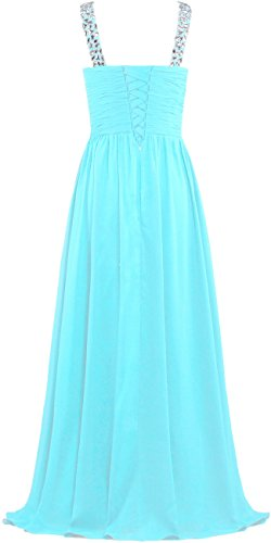Straps Women's Dresses Baby V Blue Gowns Crystal Evening ANTS Neck Prom Long wBRqxId