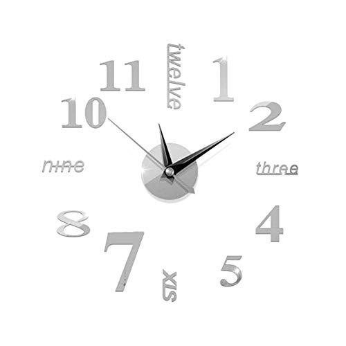 Haihuic Reloj de Pared DIY sin Marco, Moderno Reloj de Pared Espejo 3D Sin tictac Pegatinas de Pared Mute para Sala de Estar...