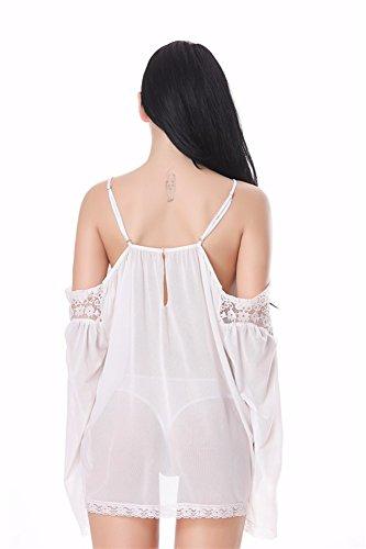 Yall Señoras Tamaño Grande Pijama Pestañas Strapless Con Ropa Interior De Malla White