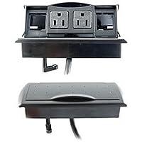 "Byrne, Table or Desk Mini-Port Power and Data Center, Color: Matte Black, Material: Molded Plastic, Dimensions: Above Desk; 3""Wx x7""L - Below Desk; 2.5""W x 6""L, Qty: 1"