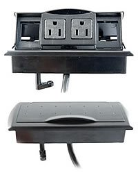 "Byrne, Table or Desk Mini-Port Power and Data Center, Color: Matte Black, Material: Molded Plastic, Dimensions: Above Desk; 3""Wx x7""L - Below Desk; 2.5""W x 6""L, Qty: 1 by Byrne"