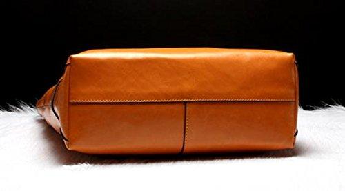 Tracolla Genuino Donne Borsa Bovina Pelle Versione Orizzontale signore per Arancione Orizzontale Versione Arancione in Moda Tote Della le Pelle 08Fgcxqw