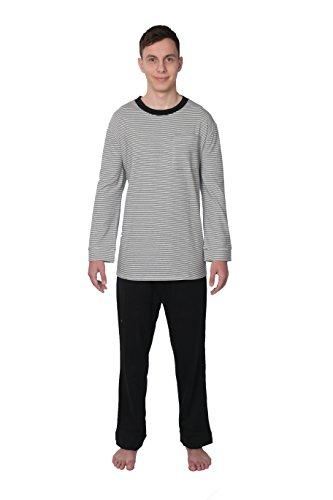 Comfort Knit Mens Sleepwear 100% Cotton Knit Pajama Set - 2707-CSB (Small, Black/White Striped)