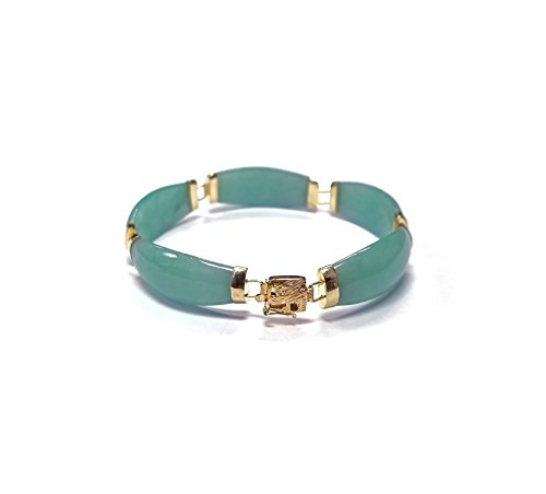 Regalia by Ulti Ramos 14K Yellow Gold Tapered Jade Link Bracelet (Green)