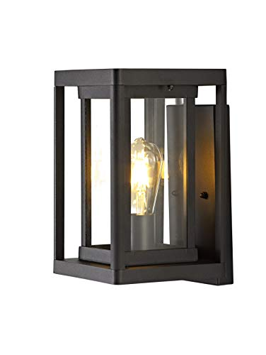 Exterior Light Fixture, Outdoor Wall Sconce/Lantern,Outdoor Porch Wall Mount Light Fixture in Matte Black Finish with Clear Glass ()