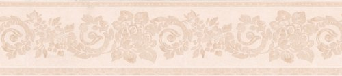 Peach Scroll - Brewster 418B011 Borders and More Vintage Floral Scroll Wall Border, 5.125-Inch by 180-Inch, Cream/Peach