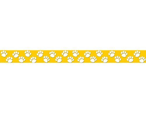 Teacher Created Resources Gold with White Paw Prints Straight Border Trim (4621)